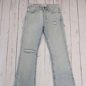 Current/Elliott The High Rise Slit Boot Cut Jeans